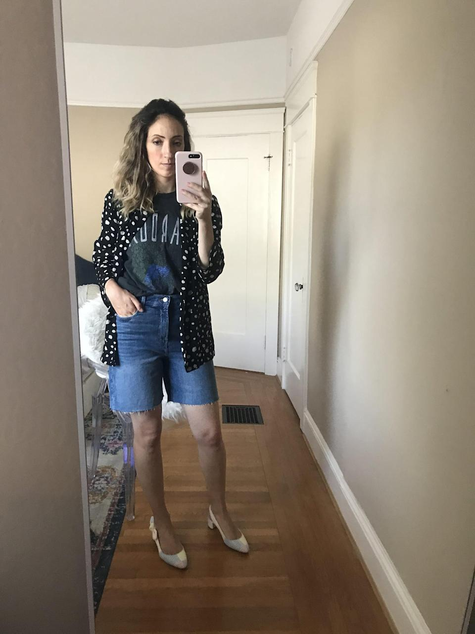 """<p><strong>The item:</strong> <span>High-Waisted Relaxed Cut-Off Jean Shorts</span> (Sold Out) </p> <p><strong>What our editor said:</strong> """"For starters, the fabric is soft along the inner thigh - I'm talking NO CHAFE, even on walks - and the shorts are stretchy without looking that way. The wash is slightly distressed, which makes me want to wear them with casual T-shirts and tailored blazers."""" - RB </p> <p>If you want to read more, here is the <a href=""""https://www.popsugar.com/fashion/old-navy-denim-bermuda-shorts-47578500"""" class=""""link rapid-noclick-resp"""" rel=""""nofollow noopener"""" target=""""_blank"""" data-ylk=""""slk:complete review"""">complete review</a>.</p>"""