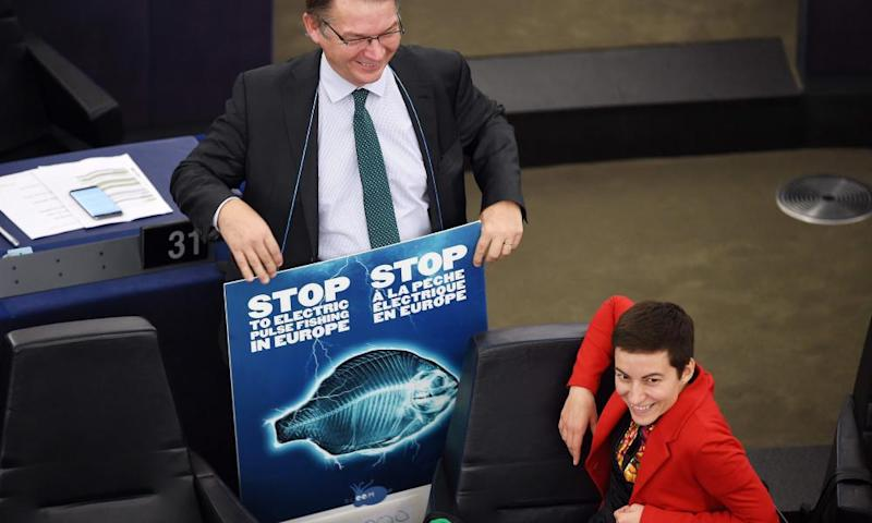 MEP Philippe Lamberts holds a placard to stop electric pulse fishing, next to German co-president of the Greens parliamentary group, Ska Keller, before a voting session at the European parliament in Strasbourg on 16 January