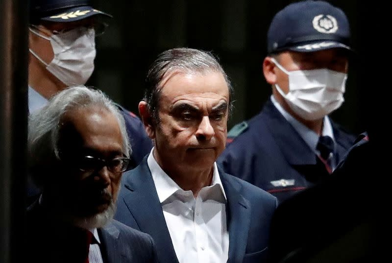 FILE PHOTO: Former Nissan Motor chairman Carlos Ghosn leaves the Tokyo Detention House, Japan