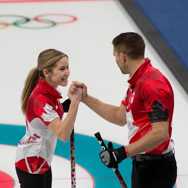 <p>Canadian curling favorites Kaitlyn Lawes and John Morris competed in Session 5 of the mixed doubles competition, defeating Switzerland 7-2.<br>(Instagram/@worldcurling) </p>