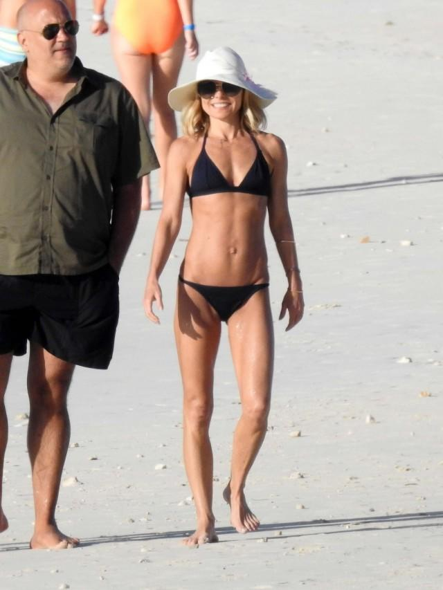 Kelly Ripa on the beach in the Bahamas