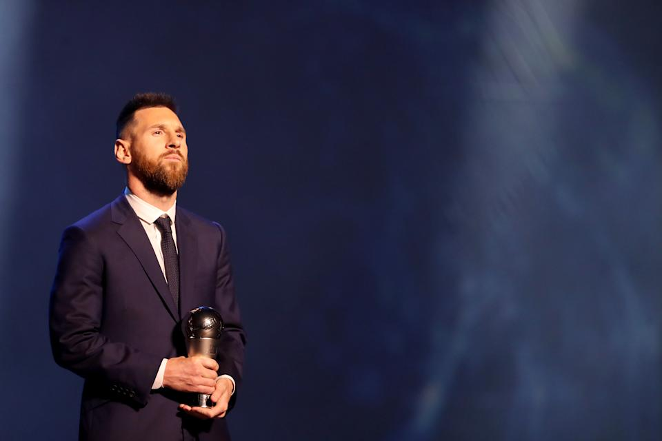 MILAN, ITALY - SEPTEMBER 23: The FIFA FIFPro Men's World11 Award Winnner Lionel Messi of FC Barcelona and Argentina is seen during The Best FIFA Football Awards 2019 at Teatro alla Scala on September 23, 2019 in Milan, Italy. (Photo by Simon Hofmann - FIFA/FIFA via Getty Images)