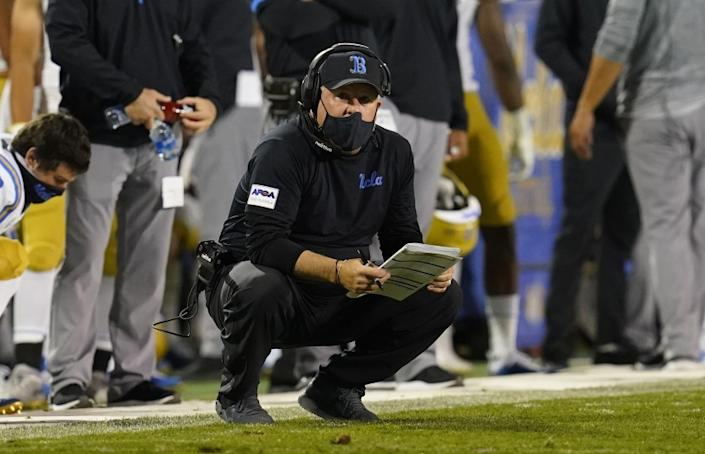 UCLA head coach Chip Kelly in the second half of an NCAA college football game Saturday, Nov. 7, 2020, in Boulder, Colo. Colorado won 48-42. (AP Photo/David Zalubowski)