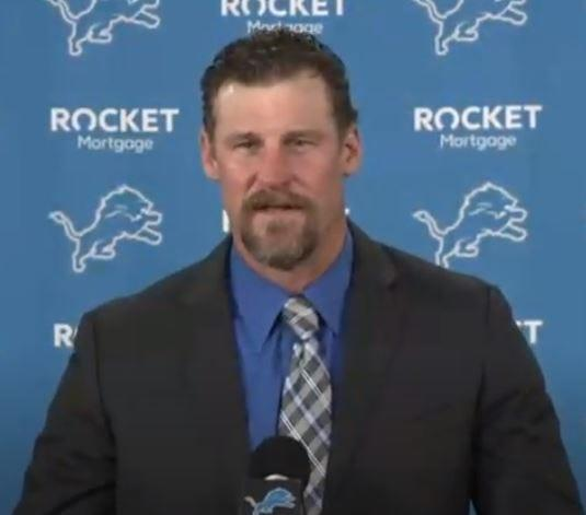 Dan Campbell is introduced as the new Detroit Lions head coach, Jan. 21, 2021.