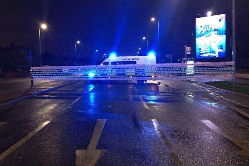 Crash scene: Great West Road in Hounslow was sealed off by police: @MPSHounslow