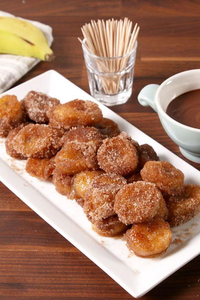 """<p>We're not sure it gets any better than these gluten-free churros made with cinnamon sugar bananas.</p><p><em><a href=""""https://www.delish.com/cooking/recipe-ideas/recipes/a51527/churro-banana-bites-recipe/"""" rel=""""nofollow noopener"""" target=""""_blank"""" data-ylk=""""slk:Get the recipe from Delish »"""" class=""""link rapid-noclick-resp"""">Get the recipe from Delish »</a></em></p>"""