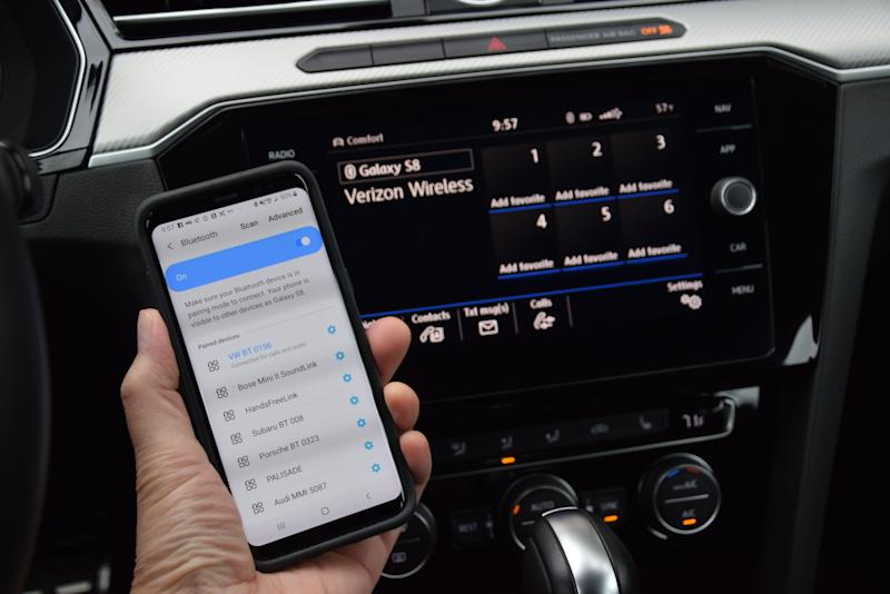 Syncing a phone in the VW Arteon's Car-Net system.