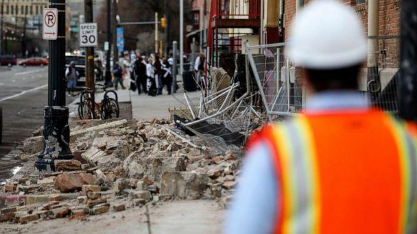 PHOTO: Fallen debris is seen at a building in Salt Lake City after an earthquake on Wednesday, March 18, 2020. (Spenser Heaps/The Deseret News via AP)