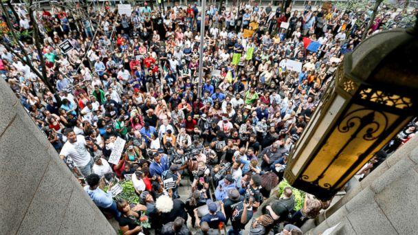 PHOTO: Protestors swarm the front of the Allegheny County Courthouse as they rally, June 21, 2018 in Pittsburgh for the killing of Antwon Rose Jr. who was fatally shot by a police officer. (Keith Srakocic/AP)