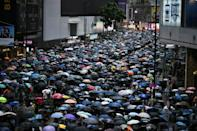 Large crowds marched through torrential rain in unsanctioned rallies on both sides of Victoria Harbour on October 6, 2019