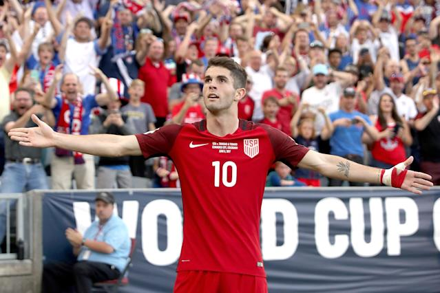 "<a class=""link rapid-noclick-resp"" href=""/soccer/players/christian-pulisic/"" data-ylk=""slk:Christian Pulisic"">Christian Pulisic</a> celebrates one of his two goals against Trinidad and Tobago back in June. (Getty)"