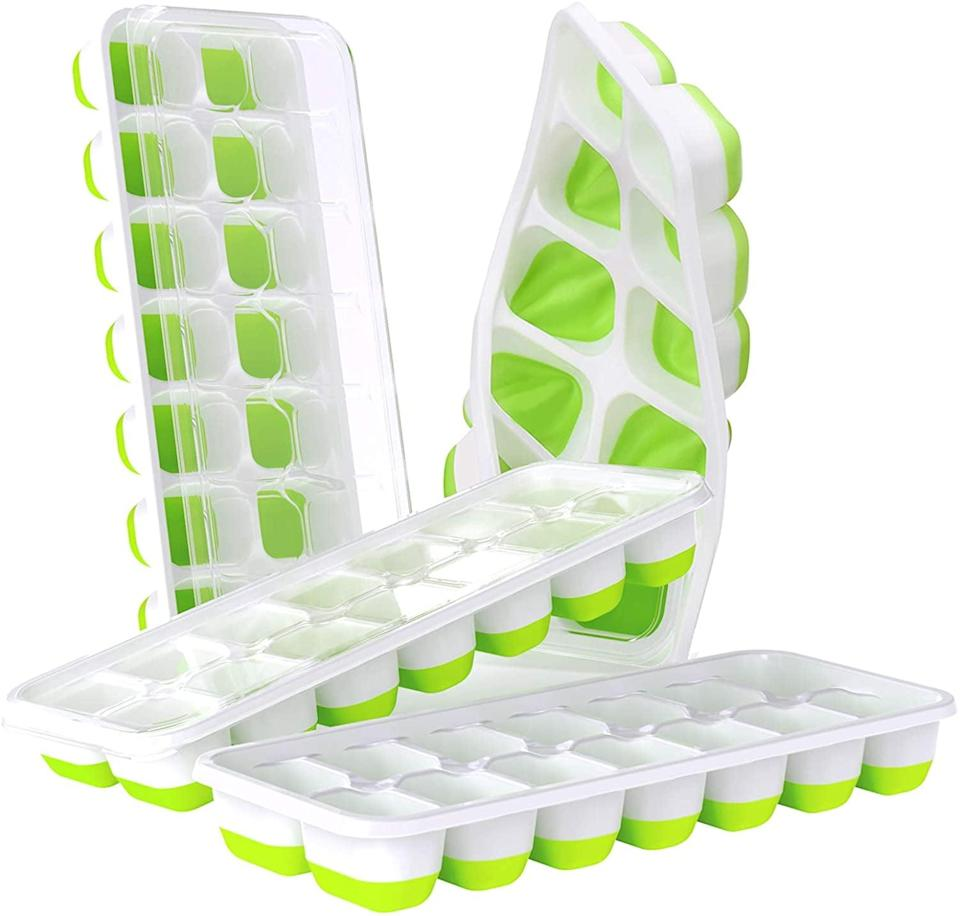 <p>Make infused ice cubes with the <span>Doqaus Easy-Release Silicone &amp; Flexible 14-Ice Cube Trays </span> ($13). They have spill-resistant removable lids and are stackable. You can even meal prep baby food with these. </p>