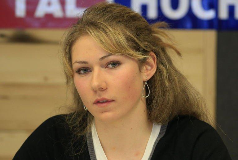 Shiffrin at a news conference in Schladming, Austria on February 12, 2013