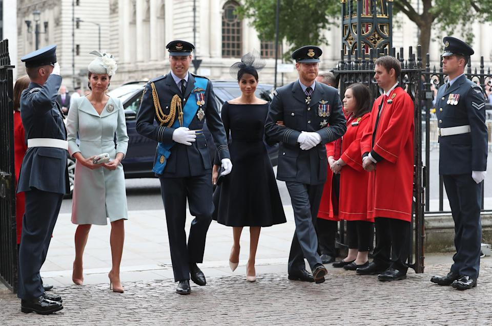 The Duke and Duchess of Cambridge and the Duke and Duchess of Sussex arrive at the Westminster Abbey service. [Photo: PA]