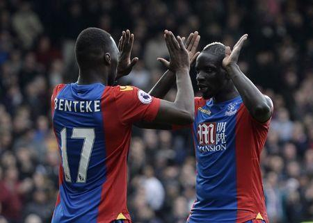Britain Soccer Football - Crystal Palace v Leicester City - Premier League - Selhurst Park - 15/4/17 Crystal Palace's Christian Benteke celebrates scoring their second goal with Mamadou Sakho Reuters / Hannah McKay Livepic