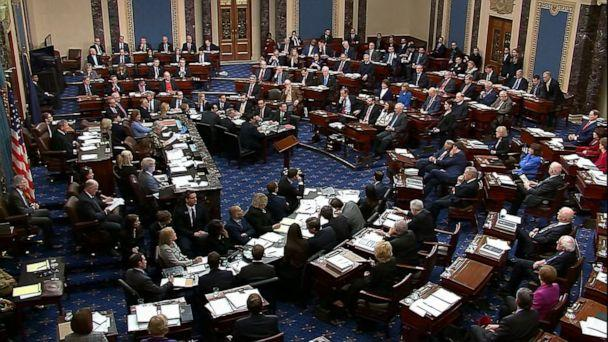 Senators cast their vote on the motion to allow additional witnesses and evidence to be allowed in the impeachment trial against President Donald Trump in the Senate at the Capitol on Jan. 31, 2020, in Washington. The motion failed with a vote of 51-49 (ABC News )