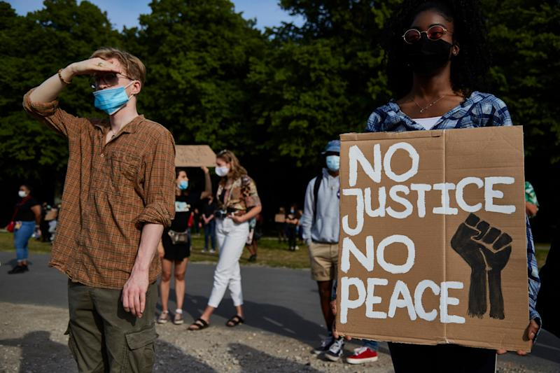 The unrest in the U.S. following the death of George Floyd at the hands of Minneapolis police officers has spurred solidarity protests in Europe. Here, demonstrators gathered in The Hague in Holland for a rally against racism. (Photo: Pierre Crom via Getty Images)