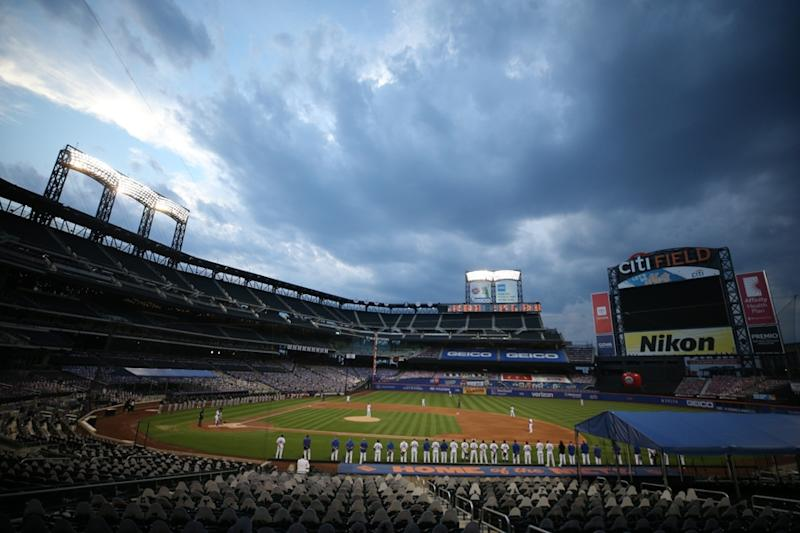 Citi Field during Mets-Marlins-moment of silence
