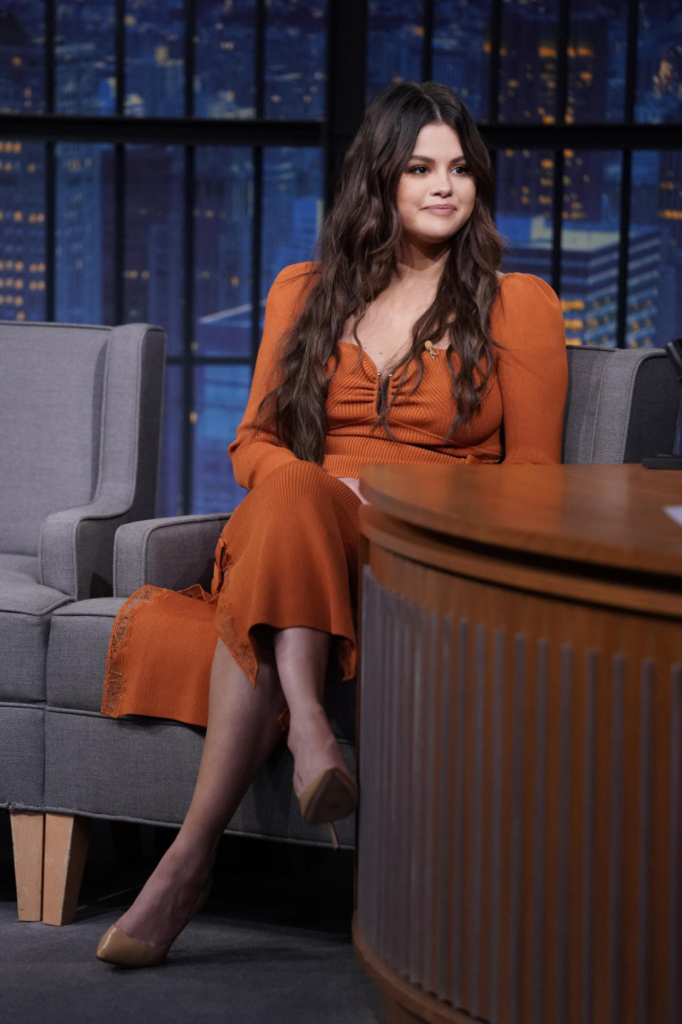 LATE NIGHT WITH SETH MEYERS -- Episode 1188A -- Pictured: Actress and musician Selena Gomez during an interview on September 08, 2021 -- (Photo by: Lloyd Bishop/NBC/NBCU Photo Bank via Getty Images)