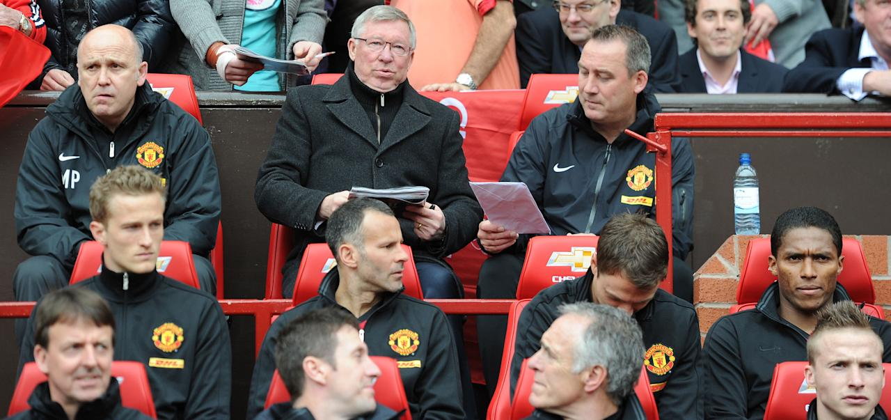 Manchester United manager Sir Alex ferguson takes his seat for his last Barclays Premier League match at Old Trafford, Manchester.