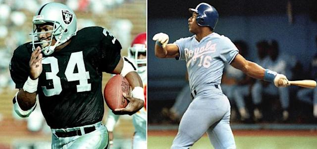 Bo Jackson starred for the Los Angeles Raiders in NFL and was an MLB All-Star with the Kansas City Royals. (AP)