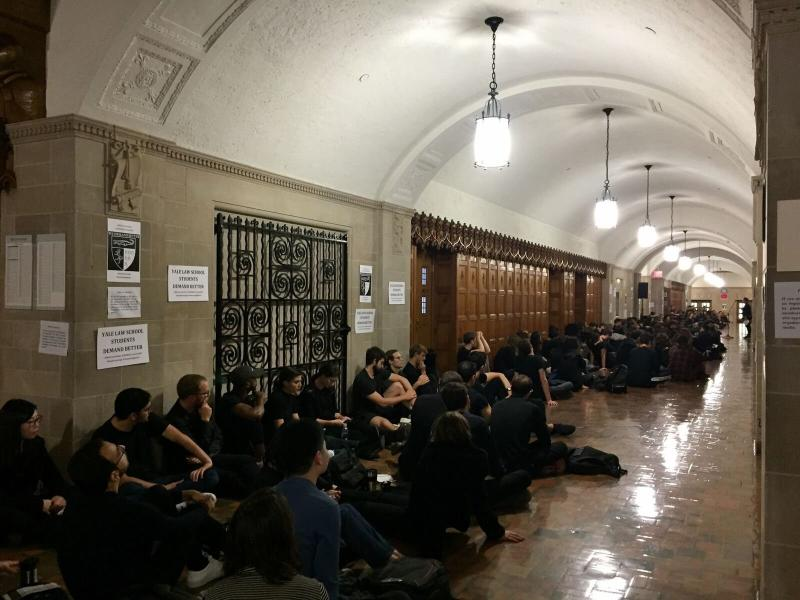 Multiple classes were canceled on Monday at Yale University's law school to help facilitate student protests. (Courtesy of Yale Law Student Protest Organizers)