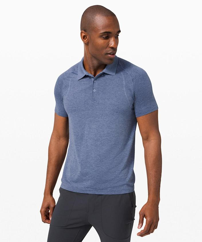 """<p>If he's been wearing the same golf clothes since college and it shows, treat him to an upgrade - we promise, he'll love it so much, he won't even notice when the old shirts mysteriously migrate to the donation pile.</p> <p><strong>Buy It! </strong>Lululemon men's golf polo, $88; <a href=""""http://prf.hn/click/camref:1100l7pdX/pubref:PEOFathersDayGiftGuide2021EditorsPicksaapatoff1271LifGal12743659202106I/destination:https%3A%2F%2Fshop.lululemon.com%2Fp%2Fmen-tops%2FMetal-Vent-Tech-Polo-Two%2F_%2Fprod4030329%3Fcolor%3D41982"""" rel=""""sponsored noopener"""" target=""""_blank"""" data-ylk=""""slk:lululemon.com"""" class=""""link rapid-noclick-resp"""">lululemon.com</a></p>"""
