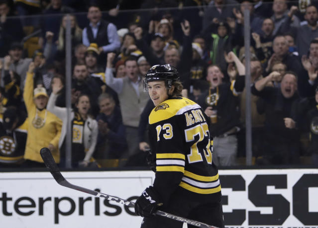 "Rookie <a class=""link rapid-noclick-resp"" href=""/nhl/players/7122/"" data-ylk=""slk:Charlie McAvoy"">Charlie McAvoy</a> has been lights-out on the Bruins top pairing alongside <a class=""link rapid-noclick-resp"" href=""/nhl/players/1700/"" data-ylk=""slk:Zdeno Chara"">Zdeno Chara</a>. (AP Photo/Charles Krupa)"