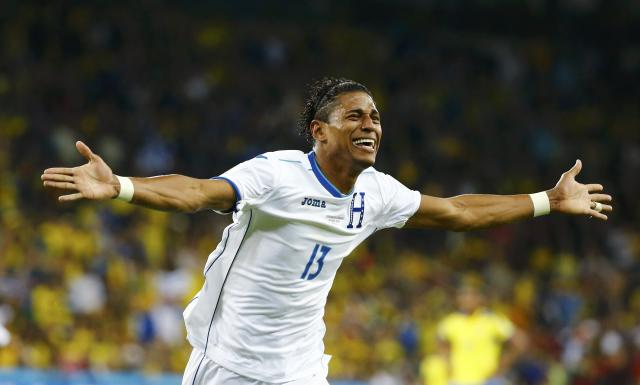 Carlo Costly of Honduras celebrates after scoring a goal during their 2014 World Cup Group E soccer match against Ecuador at the Baixada arena in Curitiba June 20, 2014. REUTERS/Stefano Rellandini (BRAZIL - Tags: SOCCER SPORT WORLD CUP)