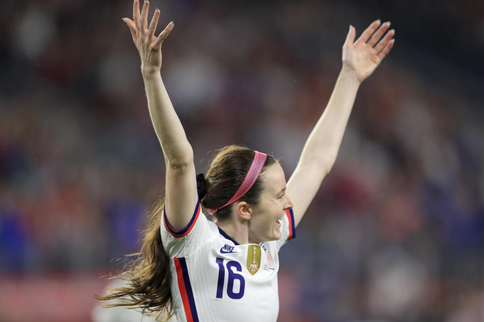 United States midfielder Rose Lavelle (16) celebrates scoring a goal during the first half of an international friendly soccer match against Paraguay, Tuesday, Sept. 21, 2021, in Cincinnati. (AP Photo/Aaron Doster)