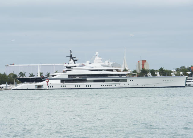 Yacht 'Bravo Eugenia' owned by Dallas Cowboy owner Jerry Jones in seen in Miami on Saturday, Feb. 1, 2020, in Miami, Fla. (Scott Roth/Invision/AP)
