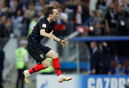 Soccer Football - World Cup - Semi Final - Croatia v England - Luzhniki Stadium, Moscow, Russia - July 11, 2018 Croatia's Luka Modric celebrates after the match REUTERS/Darren Staples