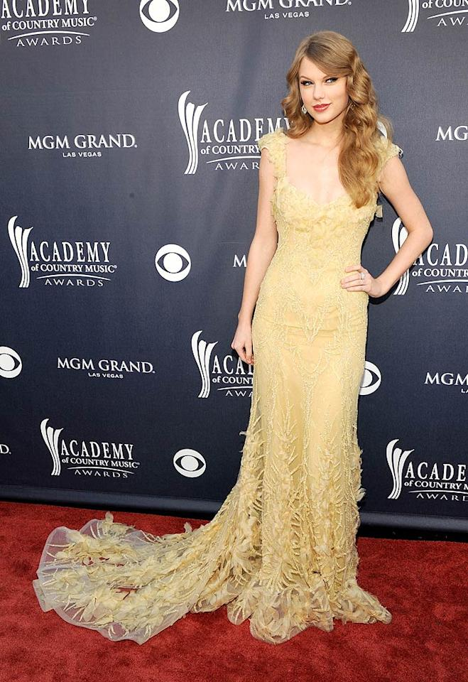 """Taylor Swift  Grade: A   As usual, the country cutie did not disappoint upon arriving at the 2011 Academy of Country Music Awards -- held at the MGM Garden Arena in Las Vegas -- wearing a gorgeous pale yellow Elie Saab Couture gown. Neil Lane jewels and long wavy locks completed her elegant ensemble. (FYI, Taylor took home the Entertainer of the Year Award!) Frazer Harrison/ACMA2011/<a href=""""http://www.gettyimages.com/"""" target=""""new"""">GettyImages.com</a> - April 3, 2011"""