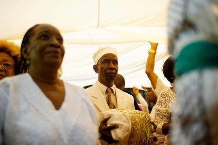 Followers of the Yoruba religion perform after the delivery of the recommendations based on their annual predictions for the New Year in Havana, Cuba