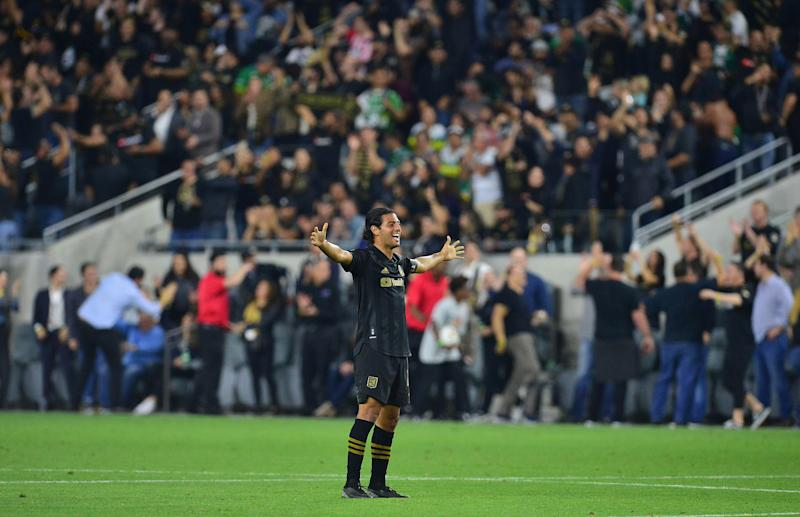 February 27, 2020; Los Angeles, California, USA; Los Angeles FC forward Carlos Vela (10) celebrates the 3-0 victory against Leon at Banc of California Stadium. Mandatory Credit: Gary A. Vasquez-USA TODAY Sports