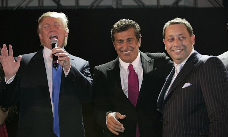 Donald Trump, Tevfik Arif and Felix Sater attend the Trump Soho Launch Party in New York on 19 September 2007.