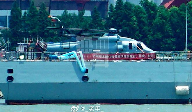 The naval variant of China's Z-20 helicopter aboard a destroyer during the summer. Photo: Weibo