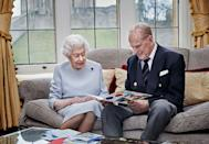 "<p>To mark 73 years of marriage, on November 20 2020, a photograph of The Queen and Prince Philip was released. In the photo, the couple are shown sat on the sofa in the Oak Room of Windsor Castle looking at an anniversary card made for them by their great-grandchildren, <a href=""https://www.elle.com/uk/life-and-culture/culture/g33388705/kate-middleton-children/"" rel=""nofollow noopener"" target=""_blank"" data-ylk=""slk:Prince George, Princess Charlotte and Prince Louis"" class=""link rapid-noclick-resp"">Prince George, Princess Charlotte and Prince Louis</a> - the children of Prince William and Kate Middleton.</p>"