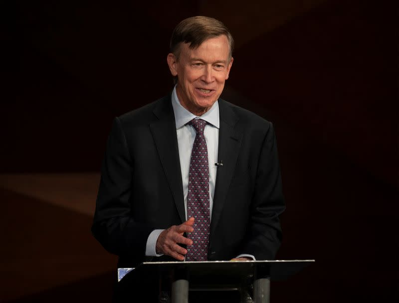 Democratic challenger and former Colorado Gov. John Hickenlooper speaks during the final debate in Fort Collins