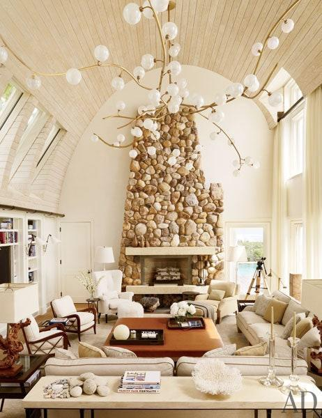 The living room of Bernie Madoff's former Montauk beach house once it was completely renovated by Daryl and Steve Roth.