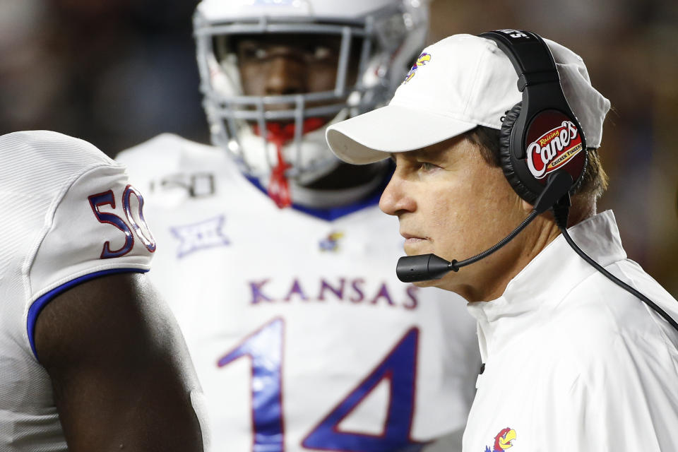 Kansas Jayhawks head coach Les Miles on the sideline during the first half against then Boston College Eagles at Alumni Stadium. (USAT)