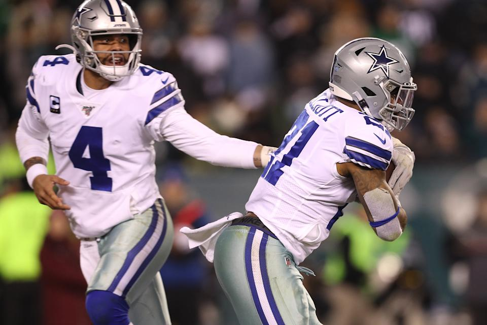 Cowboys quarterback Dak Prescott is excited to get back on the field with Ezekiel Elliott this season. (Photo by Patrick Smith/Getty Images)