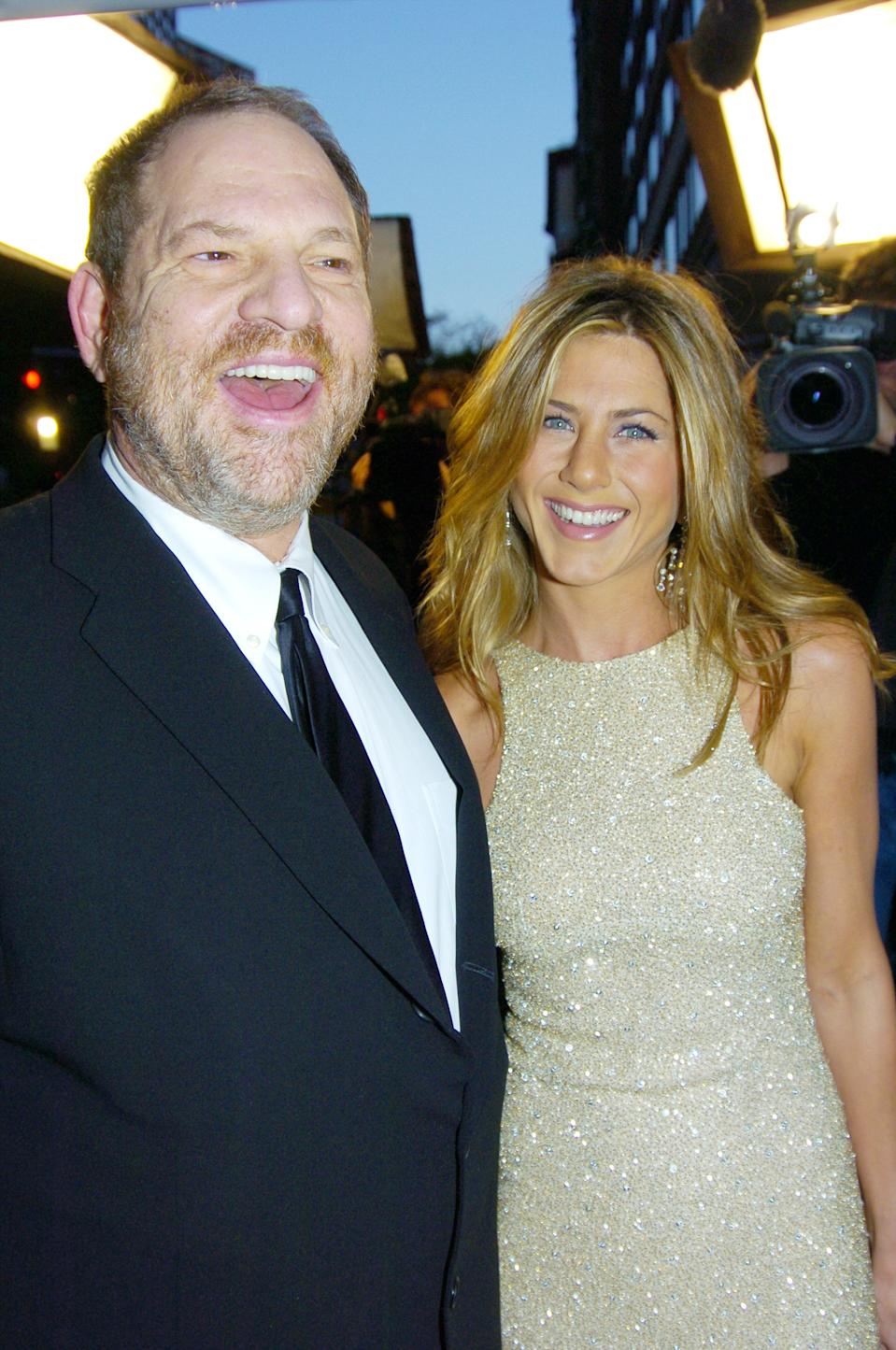 "Weinstein and Aniston at the 2005 premiere of ""Derailed."" (Photo by Richard Corkery/NY Daily News Archive via Getty Images)"