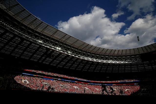 "Soccer Football - World Cup - Group B - Portugal vs Morocco - Luzhniki Stadium, Moscow, Russia - June 20, 2018 General view inside the stadium REUTERS/Carl Recine TPX IMAGES OF THE DAY. SEARCH ""FIFA BEST"" FOR ALL PICTURES. TPX IMAGES OF THE DAY"