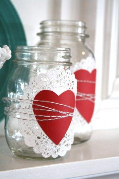"""<p>This might be the easiest craft ever: Use a paper doily, cutout heart, and twine to transform a few mason jars into an elegant display for a mantel or entryway.</p><p><strong>Get the tutorial at <a href=""""http://thepleatedpoppy.com/2012/01/valentines-mantle/"""" rel=""""nofollow noopener"""" target=""""_blank"""" data-ylk=""""slk:The Pleated Poppy"""" class=""""link rapid-noclick-resp"""">The Pleated Poppy</a>.</strong></p><p><a class=""""link rapid-noclick-resp"""" href=""""https://www.amazon.com/Round-Paper-Lace-Doilies-CHICIEVE/dp/B00PC2WATU/ref=sr_1_2?tag=syn-yahoo-20&ascsubtag=%5Bartid%7C10050.g.93%5Bsrc%7Cyahoo-us"""" rel=""""nofollow noopener"""" target=""""_blank"""" data-ylk=""""slk:SHOP DOILIES"""">SHOP DOILIES</a></p>"""
