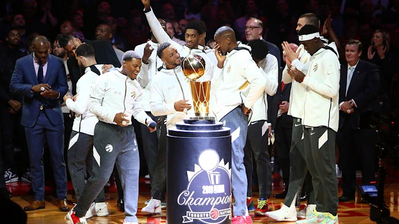 TORONTO, ON - OCTOBER 22: The Toronto Raptors admire their rings during the Toronto Raptors Ring Ceremony at Scotiabank Arena on October 22, 2019 in Toronto, Canada. NOTE TO USER: User expressly acknowledges and agrees that, by downloading and or using this photograph, User is consenting to the terms and conditions of the Getty Images License Agreement. (Photo by Vaughn Ridley/Getty Images)