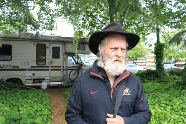 Peter Carson has lived in a makeshift RV camp in East Vancouver for nearly two years, and doesn't know where he'll go if city crews proceed to clear out the area. (Jon Hernandez/CBC - image credit)