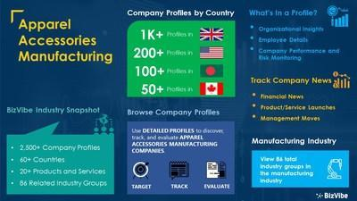 Snapshot of BizVibe's apparel accessories manufacturer industry group and product categories.