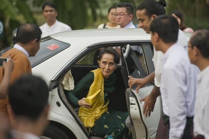 """Myanmar's Aung San Suu Kyi has repeatedly said she will be """"above the president"""" even though she is constitutionally barred from the top office (AFP Photo/Ye Aung Thu)"""