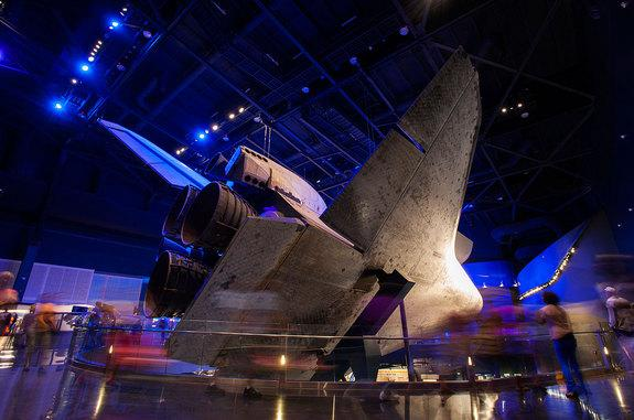 """""""Space Shuttle Atlantis"""" at NASA's Kennedy Space Center Visitor Complex in Florida is designed to give guests a nearly 360-degree view of the retired orbiter."""